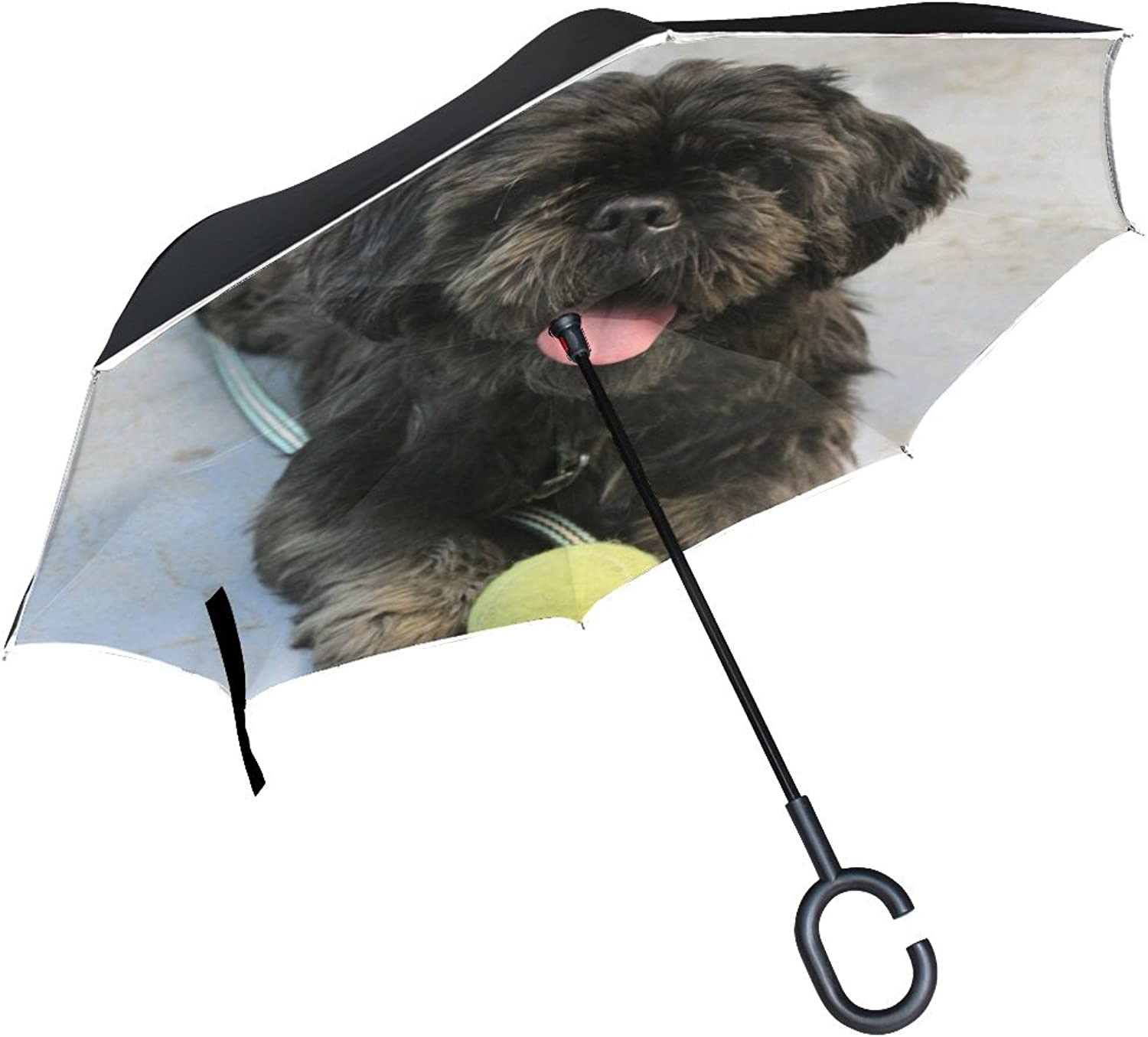 Animal Dog Affenpinscher Black Fluffy Brown Adorable Puppy Animated Ingreened Umbrella Large Double Layer Outdoor Rain Sun Car Reversible Umbrella