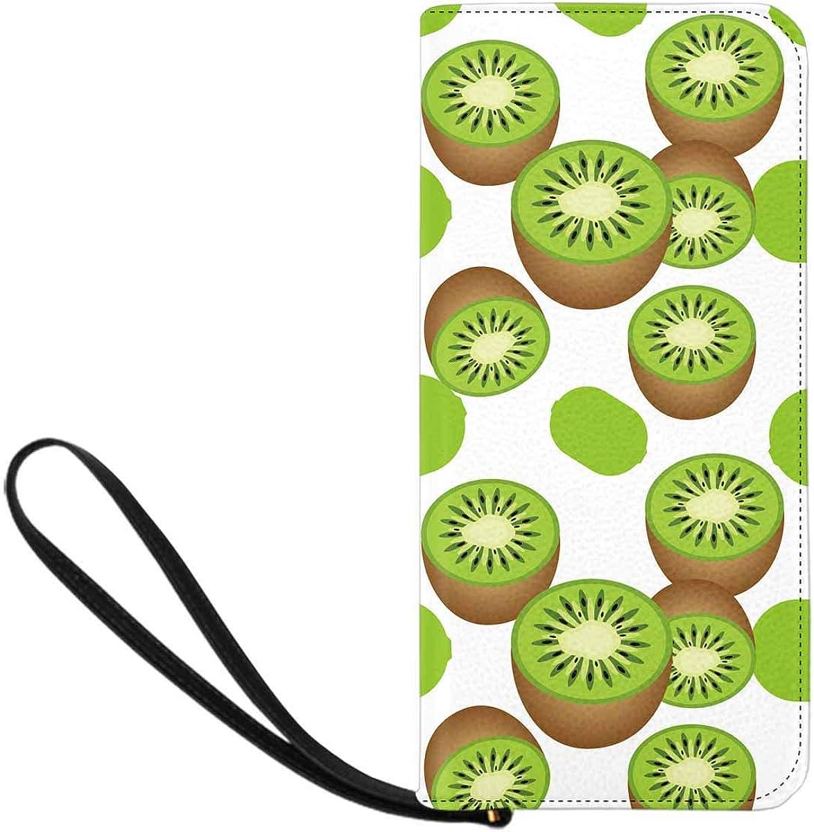 INTERESTPRINT Kiwi Fruit Pattern Clutch Wallet with Card Holder Cash Pocket Wrist Strap