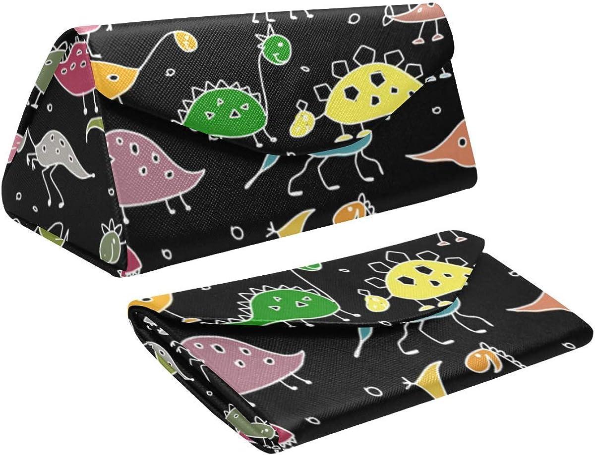 Glasses Case Funny Dinosaurs Eyeglass Case Leather Magnetic Folding Hard Case Sunglasses Eyewear Protective Case