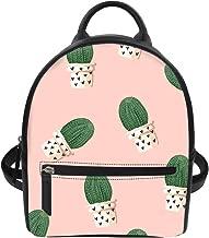 Cactus Printed Girls Mini Backpack Purse Pu Leather Small Travel Daypacks Bag