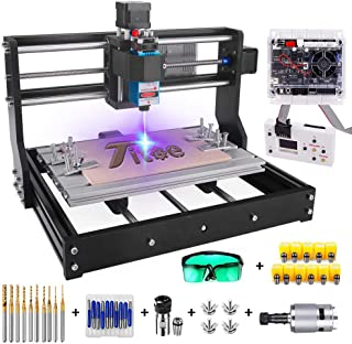 2 in 1 5500mW Engraver CNC 3018 Pro Engraving Machine, GRBLControl PCB PVC Wood Router CNC 3 Axis Milling Machine with Off...