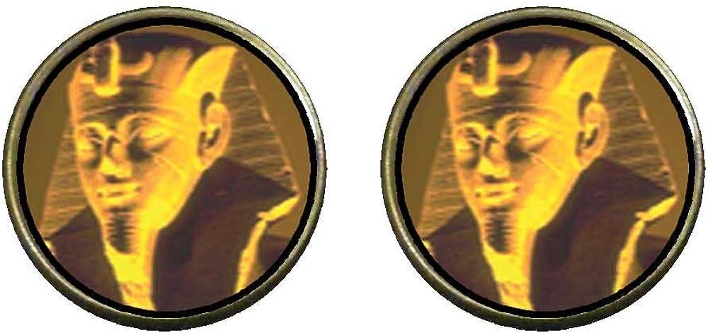 GiftJewelryShop Bronze Retro Style Egyptian Great Sphinx Photo Clip On Earrings 14mm Diameter