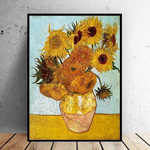 No frame ART Van Gogh vaas zonnebloemen impressionistische foto olieverfschilderij Wall Art voor woonkamer Home Decor 40x50cm