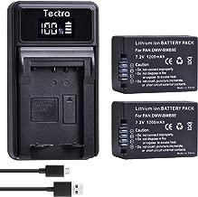 Tectra 2 Pack DMW-BMB9 DMW-BMB9E DMW-BMB9PP Battery and LED USB Charger for Panasonic Lumix DC-FZ80, DMC-FZ40K, DMC-FZ45K, DMC-FZ47K, DMC-FZ48K, DMC-FZ60, DMC-FZ70, DMC-FZ100, DMC-FZ150 Digital Camera