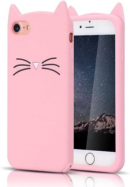 MoEvn Cover iPhone 8 Plus, Custodia iPhone 7 Plus, 3D Carino Fumetto Gatto Morbida TPU Silicone Sottile Opaco Gel Antiurto Protezione Case per iPhone ...