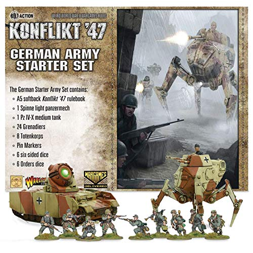 Bolt Action Miniatures - Warlord Games Konflikt '47: German Army Starter Set Military Action Figures - WW2 Model Miniatures and World War II Games by Wargames Delivered