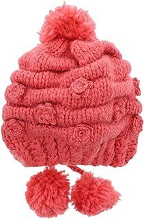 Motique Accessories Girls Warm Pom Pom Knit Hat with Chin Strap