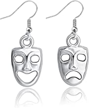 Gzrlyf Comedy and Tragedy Mask Earrings Drop Dangle Earrings Drama Masks Jewelry Theater Gifts