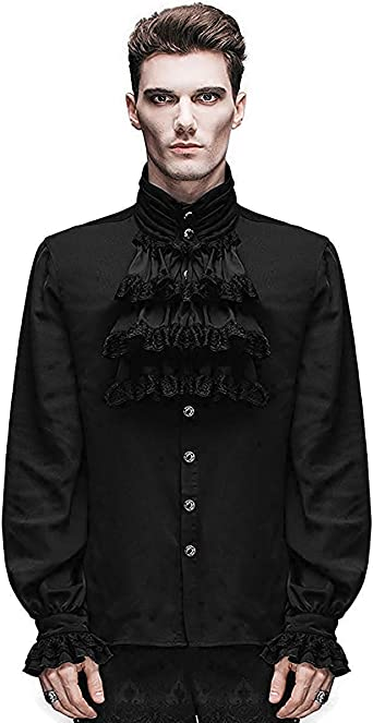 Devil Fashion Camisa Hombre Top Negro Steampunk Gótico Victoriano Regency Aristocrat