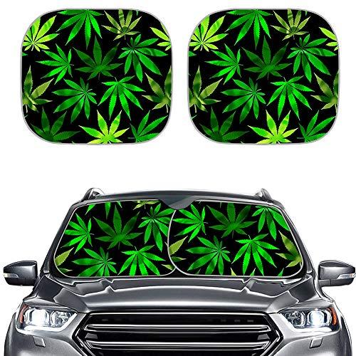 SEANATIVE Parasol para ventana delantera de coche con maceta verde de marihuana, diseño de hojas de marihuana, parasol universal para protección solar, juego de 2 piezas