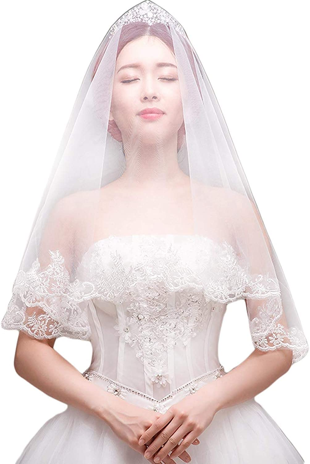 Jovono Womens Wedding Bridal Head Veils with Combs Lace Decals One Tier Cathedral