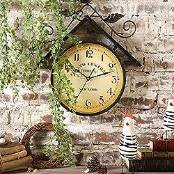 M STAR Outdoor Garden Wall Clock, Vintage Wrought Iron Art Bird House Design Garden Clocks Outdoor Waterproof Indoor Outdoor Decoration Wall Clock 41Cm