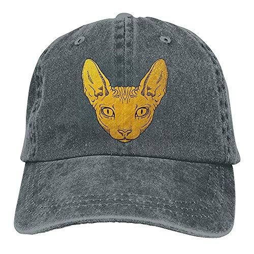 Egoa verrekijkerhoed unisexgoudsphinx-katten plaatsen verstelbaar denim-Chic-wijnoogst-baseballmuts tegen verrekijkers