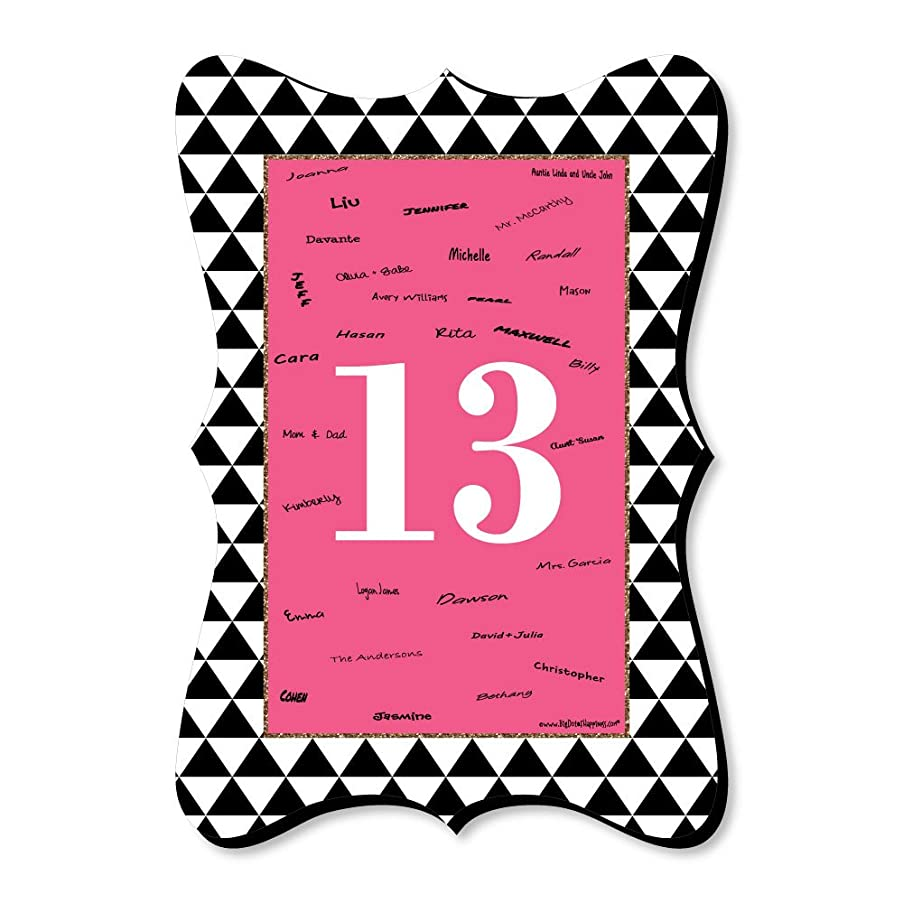 Chic 13th Birthday - Pink, Black and Gold - Unique Alternative Guest Book - Birthday Party Signature Mat