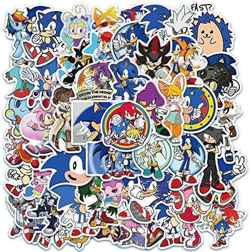 YOUKU Pegatinas de Juego de Dibujos Animados de Sonic The Hedgehog, Taza de Agua para teléfono, portátil, Equipaje, Pegatinas de Graffiti Impermeables, 50 Hojas