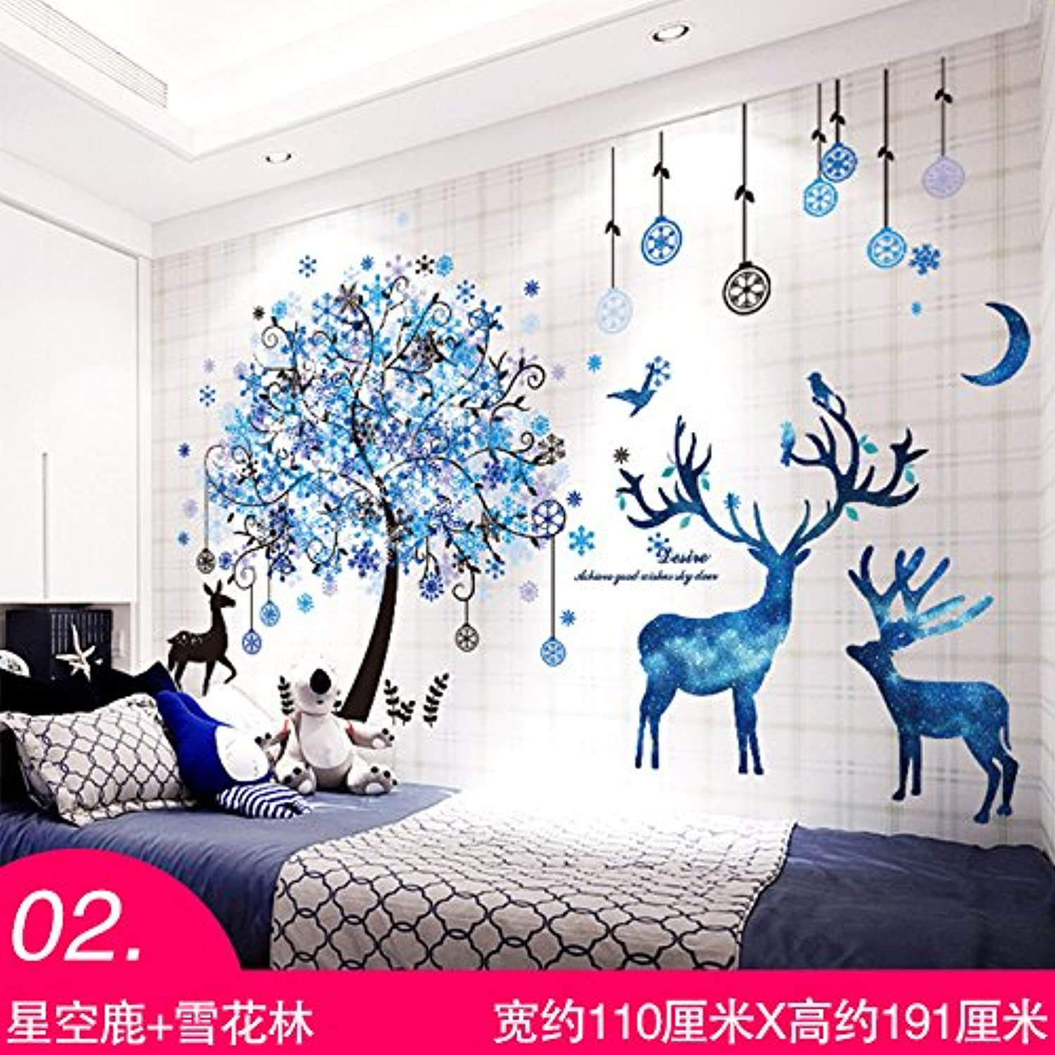 Znzbzt The Bedrooms Sticker Wallpaper Room Wallpaper self Adhesive Wall Decoration Cartoon Posters on The Walls, The Snowflake Forest + Germany