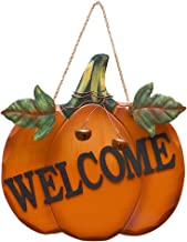 YK Decor Decorative Welcome Pumpkin Sign Wood Wall Décor Autumn Fall Harvest Halloween Thanksgiving Country Decoration with Jute Hanging String