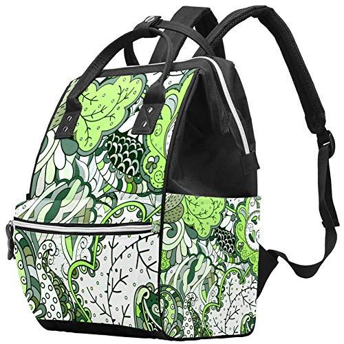 Grüner Totem Cashew Blumen Pflanze Vintage Muster Wickeltasche Laptop Rucksäcke Notebook Rucksack Reisen Wandertagesrucksack für Frauen Männer