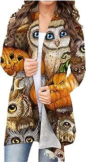 LianMengMVP Damen Blusen Oberteile Slim fit Halloween Tier Kürbis Print Strickjacke Mantel Herbst Lange Ärmel Mode Blusen ...