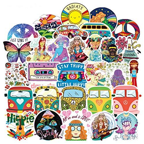 100 Stück Hippie-Sticker im Hippie-Stil, Young-Pop-Aufkleber, Koffer-Aufkleber, Vinyl-Aufkleber für Auto, Stoßstange, Helm, Gepäck, Laptop, Wasserflasche