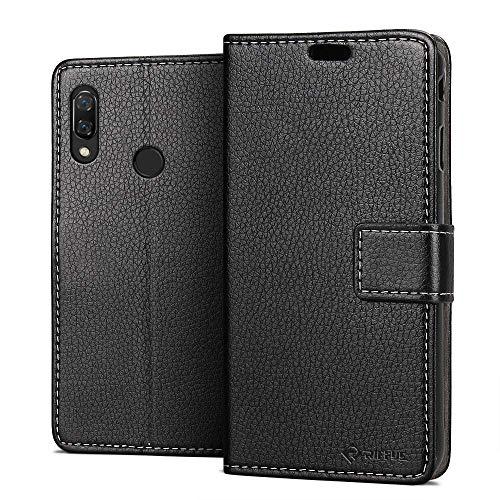Huawei Nova 3 ケース {Riffue} 手帳型 柔軟 レザー おしゃれ スタンド カード収納 マグネット式 防塵 防水 防振 保護 クラシック Nova 3 ケース (ブラック)