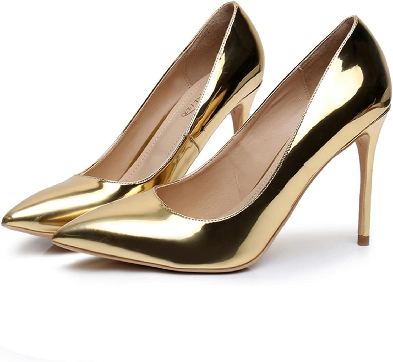 Kvinnor, sexiga skor med höga klackar, tunn tunn tunn hälpunkt tå 10cm, läder, rött silver  bara för dig