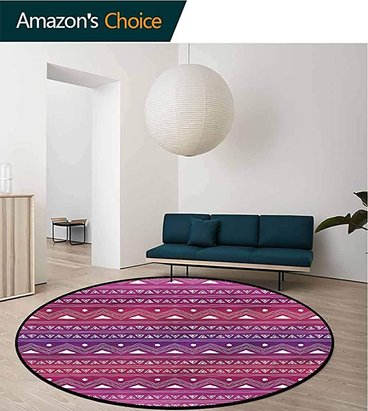 RUGSMAT Tribal Modern Washable Round Bath Mat Geometric Ethnic Ombre Non Slip No Shedding Kitchen Soft Floor Mat Diameter 59