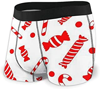 Men's Boxer Briefs Sweet Sugar Candy Cane Men's Underwear Breathable Comfortable Sport Short Leg