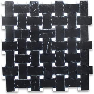 Nero Marquina Black Marble Basketweave Mosaic Tile Carrara White Dots 1 x 2 Honed
