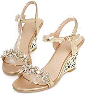 Damesmode platform sandaal Casual glitter zomer strand slip op hoge wig sandaal schoenen