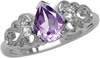 Silvershake 1ct. Natural Amethyst and White Topaz Gold Plated 925 Sterling Silver Filigree Ring