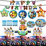 Birthday Party Supplies Birthday Decorations, 82 Pcs Party Favors - Banner, Cake Topper, Plates, Table Knife, Fork, Spoon and Foil Balloon for Kids Themed Party