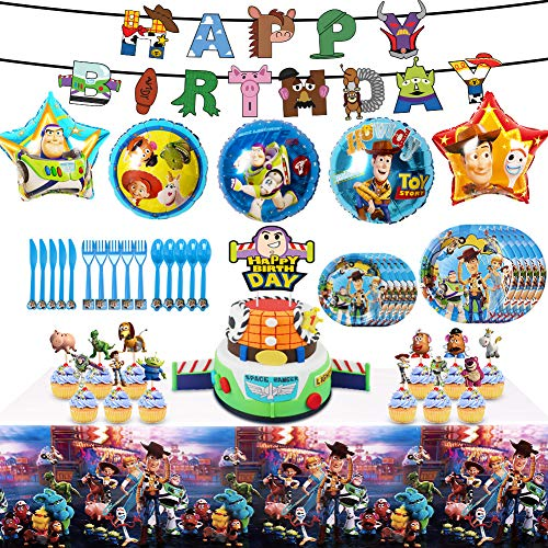 Sale!! Toy Story 4 Party Supplies Birthday Decorations, 82 Pcs Party Favors - Banner, Cake Topper, P...