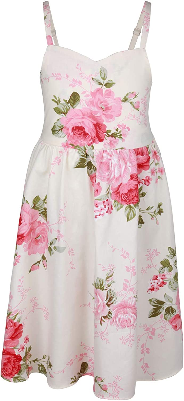 Flofallzique Floral Girls Tea Party Dress Summer Vintage Backless Kids Halter Beach Sundress