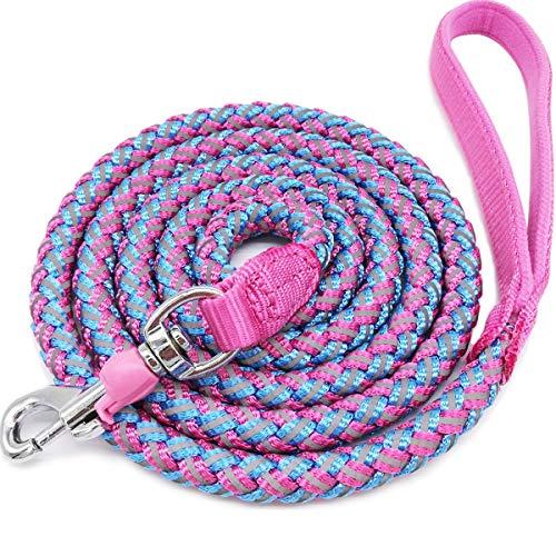 Mycicy Rope Dog Leash - 6ft Mountain Climbing Pink Dog Leash - Reflective...