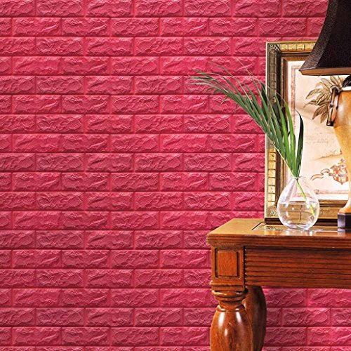 Hot Sale!!! Wall Decals,Jushye PE Foam 3D Wallpaper DIY Wall Stickers Wall Decor Embossed Brick Stone (Hot Pink)