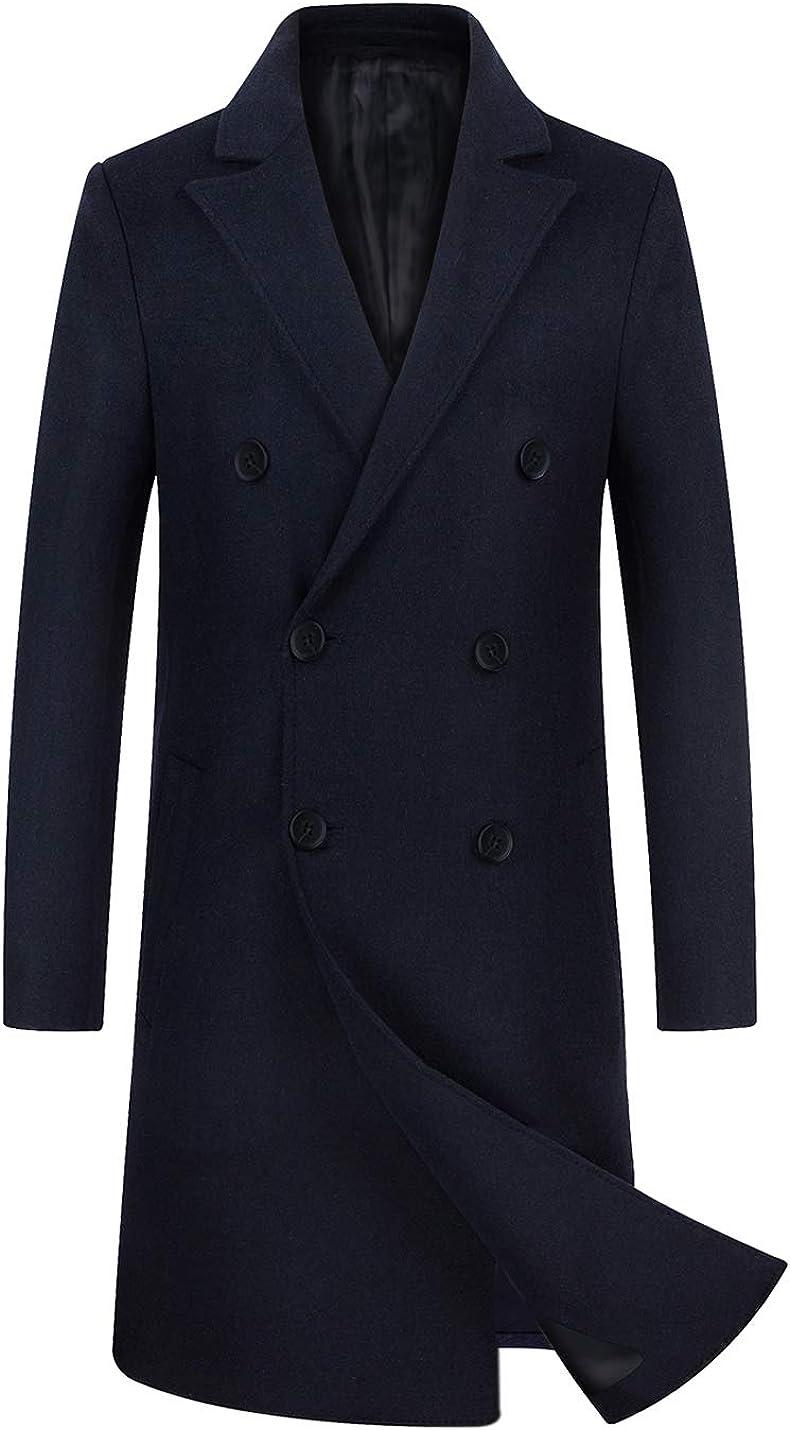 zeetoo Men's Wool Trench Coat Winter Slim Fit Wool Jacket Long Peacoat Overcoat