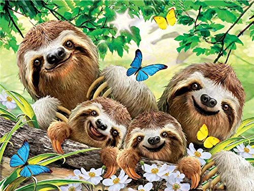 neivy Forest Animal Sloth Diamond Painting Adult Children DIY 5D Kit Cross Stitch Full Diamond Crystal Embroidery Kit Cross Stitch Home Decoration Crafts (Full Square 50x60cm)