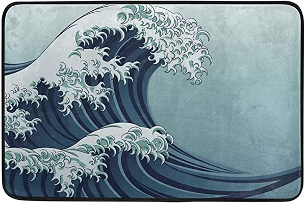 CdVeK9ca 神奈川大浪 3D 打印搞笑门垫室内室外橡胶防滑门垫天井前门 23 6X15 7 英寸