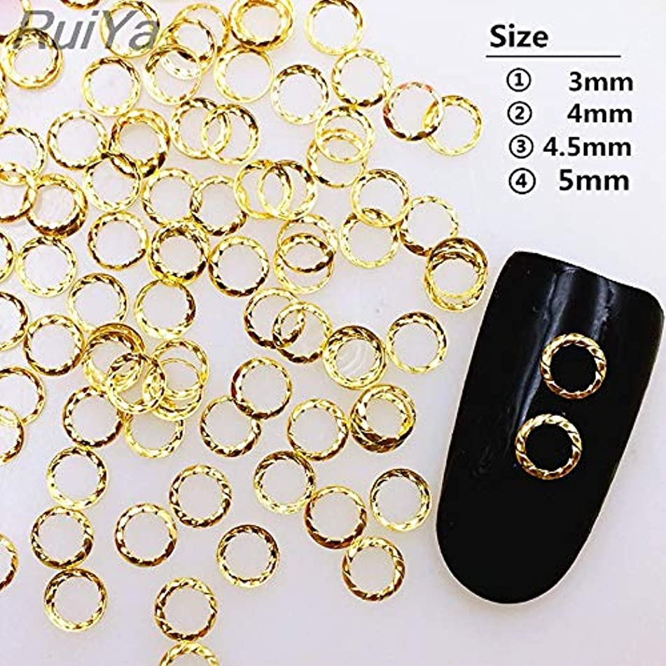 100Pcs/Lot Gold Silver Hollow Twisted Ring Rivets Round Studs Metal Alloy Nail Art Decorations 3D DIY Nail Stickers/Charms 3MM gold