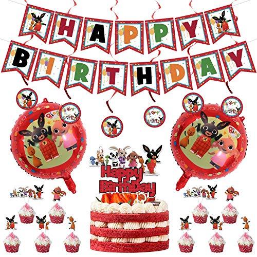 CMTKJ 20 Stück Cartoon-Themen-Partyzubehör für Bing Bunny, Happy Birthday, Tier-Dekoration mit Luftballons, Cupcake-Topper Flagge, Banner