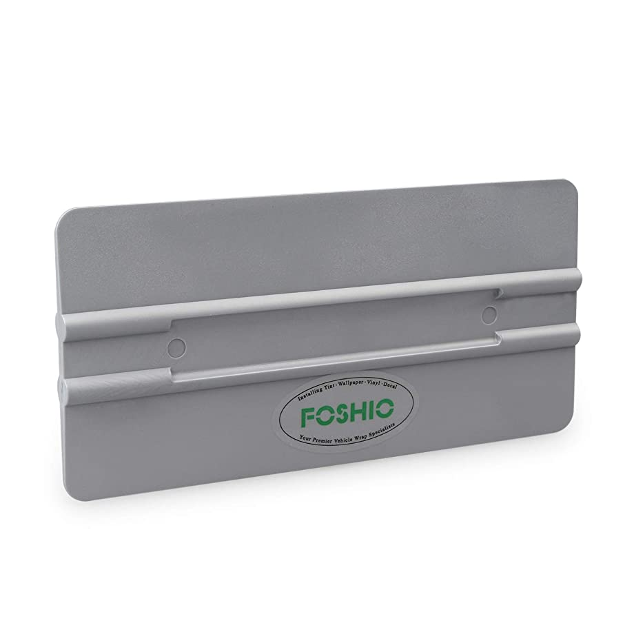 FOSHIO Auto Window Tint Film Installing Tool 6 Inch Hard Squeegee 4 Round Corners Universal Card - Silver PP Car Vinyl Wrap Scraper