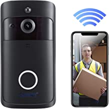 Video Doorbell, Doorbell Camera HD 720P WiFi Doorbell Wireless with Doorbell Chime Battery Power Operated Motion Detector Audio&Speaker Night Vision for iOS&Android (Black)