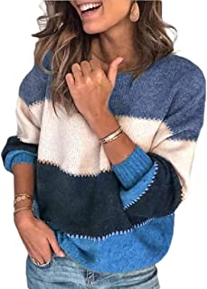 Macondoo Women Thickened Knitted Jumper Contrast Pullover Sweater
