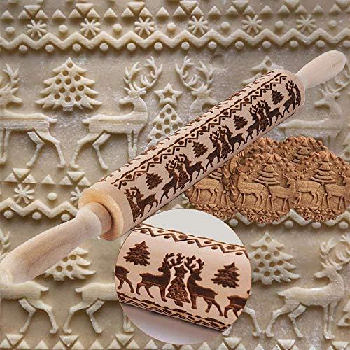 U&X Teigroller Weihnachten Nudelholz Muster Prägerolle Elch DIY Küchenhelfer für Weihnachtsthema Fondant Kuchen Teig Keks Dekoration 43cm/17inch