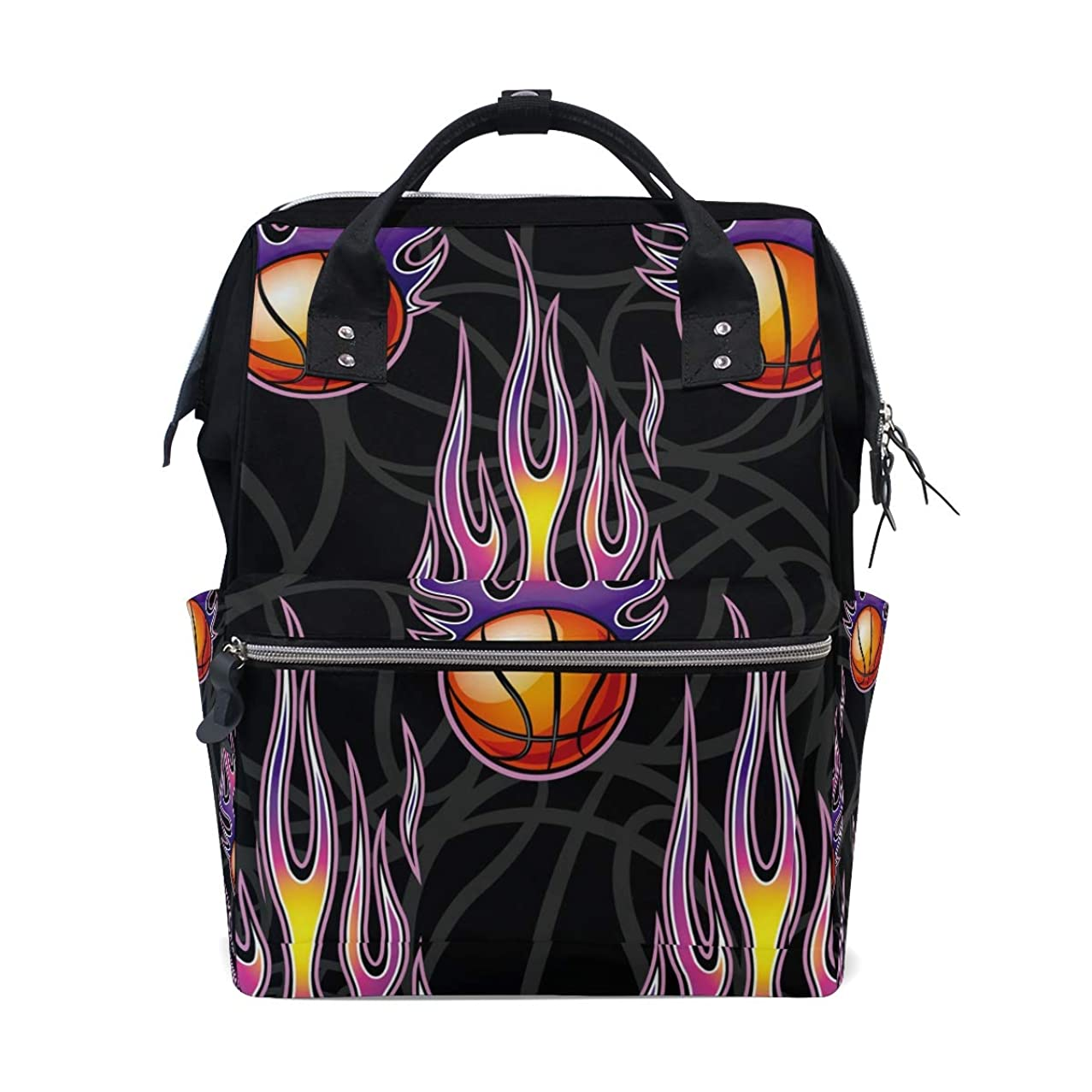 Basketball With Fire Pattern School Backpack Large Capacity Mummy Bags Laptop Handbag Casual Travel Rucksack Satchel For Women Men Adult Teen Children