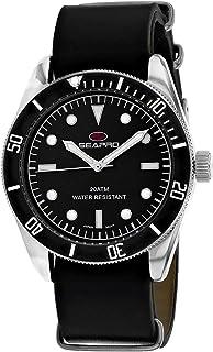Seapro Men's Revival Stainless Steel Quartz Leather Strap, Black, 22 Casual Watch (Model: SP0302)
