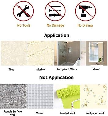KINCMAX Shower Caddy Bathroom Shelf, No Drilling Traceless Adhesive Bathroom Storage Organizer, SUS304 Rustproof Food Storage