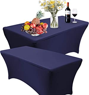 Reliancer 2 Pack 4/6/8FT Rectangular Spandex Table Cover Four-Way Tight Fitted Stretch Tablecloth Table Cloth for Outdoor Party DJ Tradeshows Banquet Vendors Weddings Celebrations (2PC 8FT, Navy Blue)
