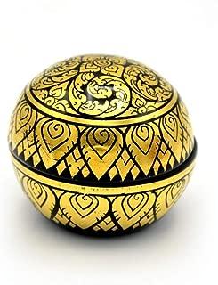 Jatujakmall Mango Wood Gold Khern Jewelry Box Kanok Lotus Lifestyle Thai Products